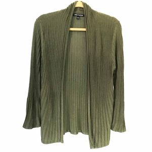 Cable & Gauge* Open Front Cardigan Green Textured